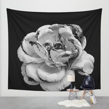 Rose in black and white  Wall Tapestry by VanessaGF