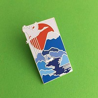 Crane Waterfall Japan Enamel Pin