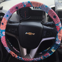 Bright Flower Print Steering Wheel Cover