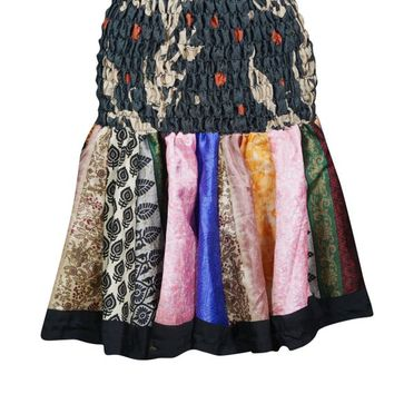 Colorful Mini Skirt Recycled Sari Ruched Waist Flirty Skater Skirts S/M/L