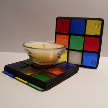 Rubiks Cube Mosaic Candle Holder, Stained Glass Mosiac Candle Stand
