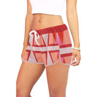 Shades of Red Patchwork Women's All Over Print Relaxed Shorts (Model L19) | ID: D2793925