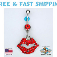 Sexy Lips Dangle Belly Ring Bar Red Valentine's Day Kiss Navel Belly Button Piercing Jewelry (D24) Free Shipping