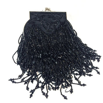 Black Beaded Satin Evening Clutch Purse, Beaded Fringe, Flower Motif, Silvertone Clasp, Special Occasion Glamorous, Vintage Accessories