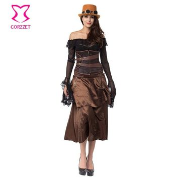 Brown Brocade Corsets And Bustiers Steampunk Couture Waist Trainer Steel Boned Underbust Corset Dress Sexy Gothic Clothing