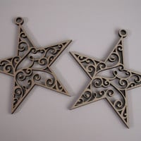 Star Ornament Wood Shape,  Laser Cut, Unfinished Wood, Christmas Decorations, Wedding Ornament, Ready to Paint Wood Shapes, 2 PIECES