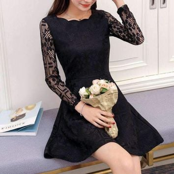 Women Evening Party Mini Short Pink Lace Sleeve Office Dress For Girl Prom Tunic Vested