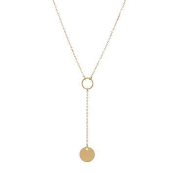 Y-Drop Disc Necklace