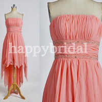 Short Coral Strapless Bridesmaid Dresses Beaded Prom Dresses Party Dresses Homecoming Dresses 2014 New Fashion