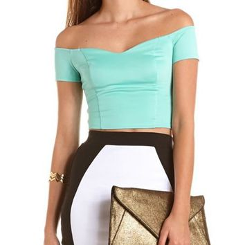 Off-the-Shoulder Scuba Crop Top: Charlotte Russe