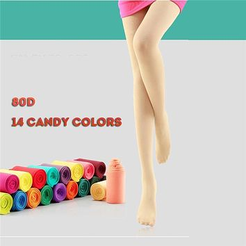 Tights Women Velvet Candy Color Pantyhose Girls Cute Lovely Hearts 80D Stockings Female Seamless Elastic Winter Nylon Tights
