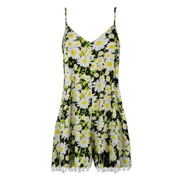 DAISY PRINT PLAYSUIT WITH POM POM