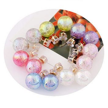 Cute C y Color 2 Side Round Pearl Earings Resin Crystal Ball Ear Studs Big Glass Ball Earring Girl Gift SM6