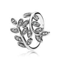 PANDORA | Leaves silver ring with cubic zirconia