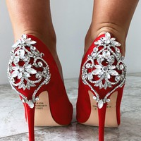 Deck The Halls Heels: Red/Silver