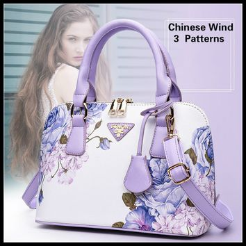 New Arrive Chinese Wind Women Fashion Handbag Lady Chic Shell Bag Beautiful Blue and White China Crossbody Bag Elegant Plum Leat
