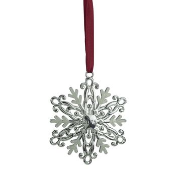 "3"" Regal Silver-Plated White ""2015"" Christmas Snowflake Ornament with European Crystals"