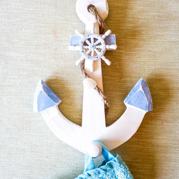 Big Nautical Anchor with Sailboat Wheel Hook/ Pool towel Hanger/ Beach House Wall Decor