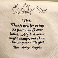 Father of the Bride Embroidered Handkerchief- Dad, Thank You