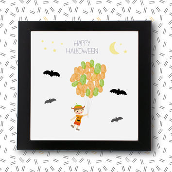 My first halloween guest book decor guestbook fingerprint tree decorations / printable pdf / pumpkin Baby Shower children party trick treat