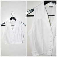 MINIMALIST white crop top vintage 80s 90s CROPPED sleeveless button down WESTERN summer blouse