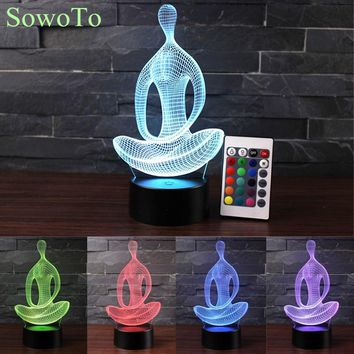 Acrylic 7Color Lava Lamp Changing Remotely 3D LED Night Light Meditation of Bedroom Lamp Living Room Lights Decoration Luminaria