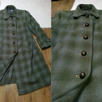 German loden womens hunting military green light blue checked wool trench coat jacket trachten S M dirndl vintage folk angora alpaca tartan