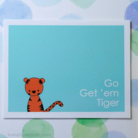 Tiger Good Luck Card Handmade Greeting Card Cute Card Best Wishes Card Graduation Card New Job Card Fun Card Animal Pun Card Cute Tiger Card