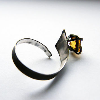 Star. sterling silver adjustable ring with  yellow sapphire, unusual engagement ring
