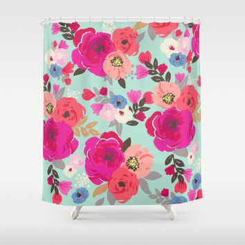 Sweet Pea Floral Aqua Multi color Shower Curtain by Crystal ★ Walen