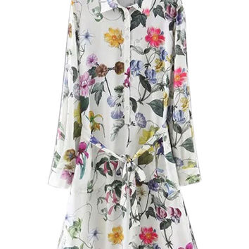 Multicolor Floral Long Sleeve Tie Waist Shirt Dress