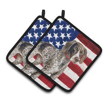 German Shorthaired Pointer Patriotic Pair of Pot Holders BB9641PTHD