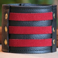Unisex Leather Wristband Cuff with Secret Pocket - On-the-Go -- Militant Band Leader - Red Suede