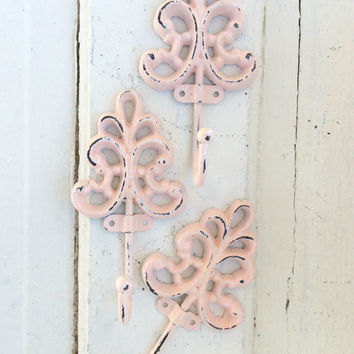 Ornate Cast Iron Wall Hook, Rustic Wall Art, Anthropologie Style, French Style Decor, Light Pink Hook