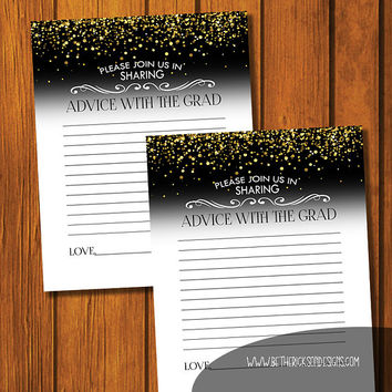 Graduation Advice Card / Instant Download / Party Accessorie / Advice Card / Digital File / Graduation Party / Formal Gold Glitter