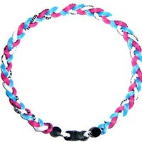 "Baseball Tornado Titanium Sports Necklace 20"" Pink/White/Lt Blue"