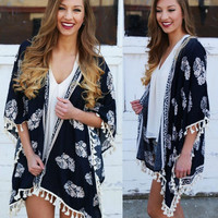 Navy Floral Print Fringed Open Front Cape Cardigan