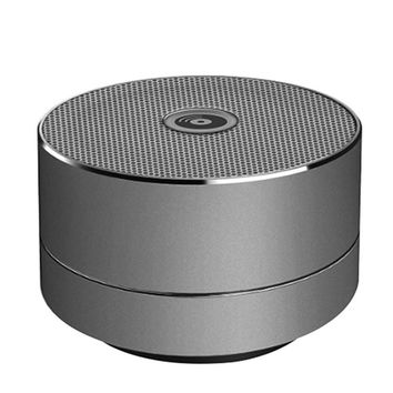Mini Bluetooth Speaker Blue LED Light Display Metal Space Grey Dynamic Sound