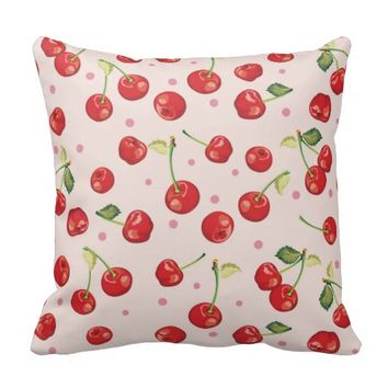 Hipster,retro,cherry,pattern,red,pink,pale,cute, Throw Pillows