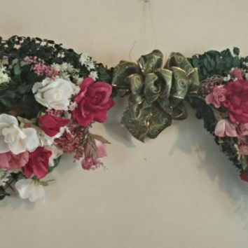 Floral swag, summer swag, spring swag, large swag, roses, wall decor, wall hanging, offered with free shipping