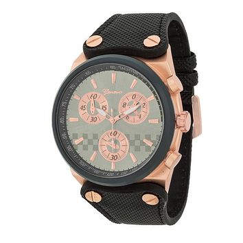 [MJ]-Men's Rosegold Chronograph Textured Faux Leather Strap