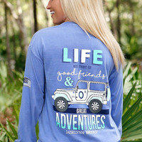 Jadelynn Brooke Long Sleeve Jeep Life Tee in Poolside Blue JEEPLIFE-POOLSIDEBLUE