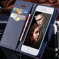 For iPhone 7 Plus Stand Wallet Cover Hit Color Leather Card Slot Flip Mobile Phone Case For iPhone 5 5S SE 6 6S Plus 7 Plus Capa
