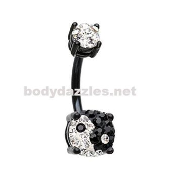 Black Yin Yang Sprinkle Dot Gem Prong Sparkle Belly Button Ring Surgical Stainless Steel 14ga