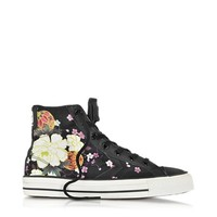 Converse Limited Edition Designer Shoes Star Player Ev High Top Black/Hanami Canvas and Leather Sneaker