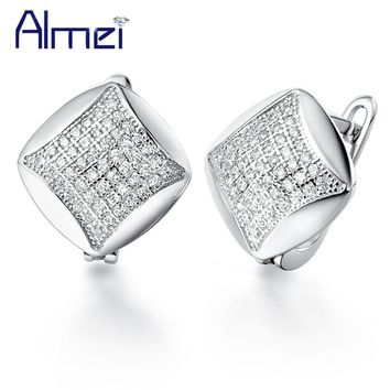 2016 New Arrivel New Aretes Sliver Vintage Square Stud Earrings for Mother's Gift Korean Style Rhinestone Crystal Earring R138