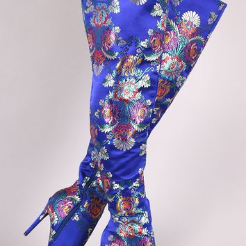 Anne Michelle Floral Pointy Toe Slit Stiletto Over-The-Knee Boots