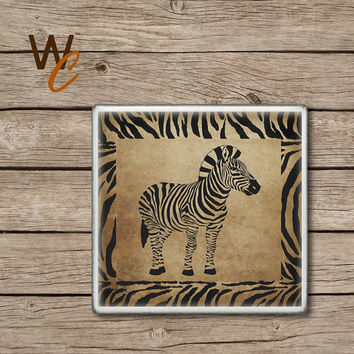 Drink Coaster, Zebra Handmade Design, Ceramic Tiles, Grunge Style Wildlife Home Decor, Animal Print Bar Coaster, Made To Order