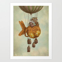 Around the World in the Goldfish Flyer Art Print by Eric Fan