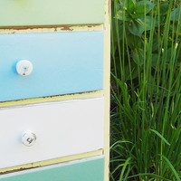 Retro-cycled Whimsical Multi-colored Set of Drawers Lined with Gorgeous Art Paper